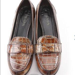 PRADA Women's Brown Crocodile Embossed Loafers